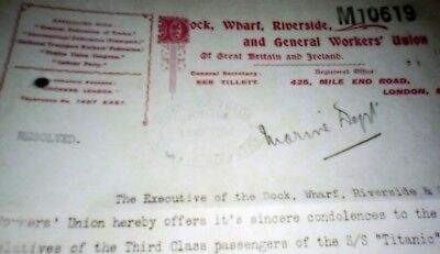 TITANIC Letter Trade Union Workers Ship Yard Emphemera REPLICA A1 Condition 1912