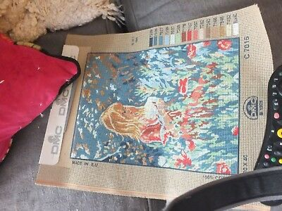 dmc 1998 girl tapestry canvas only new