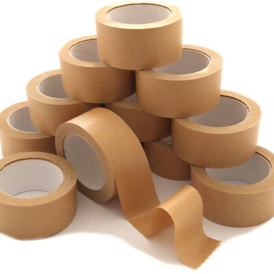 12 Rolls of Brown Kraft Paper Self Adhesive Backing Tape Picture Frame 50mm x50M