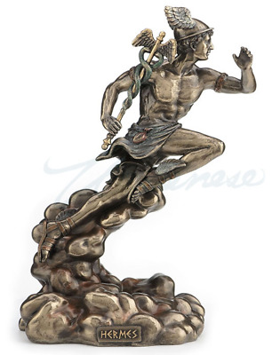 Hermes Running With Caduceus Figure Statue Sculpture - GIFT BOXED