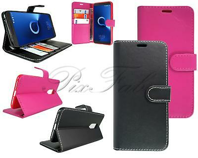 For Alcatel 3 5052Y New Stylish Black Pink Leather Flip Wallet Phone Case Cover