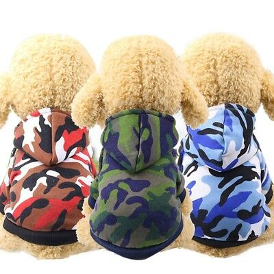 Puppy Pet Dog Warm Winter Apparel Clothes Camouflage Coat Jacket Shirt Hoodie