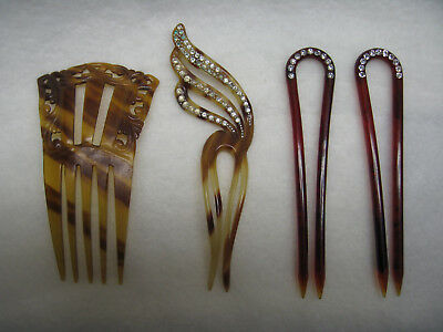 Lot of 4 Vintage/Antique Collectible Faux Tortoise Shell Hair Combs & Pins