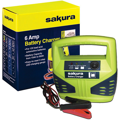 Sakura 6 Amp Car Battery Charger For Charging Vehicle 12V Batteries