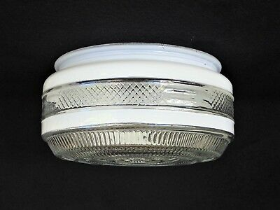 """6"""" Fitter Retro Round Prismatic White & Clear Drum Ceiling Light Glass Shade Fan"""