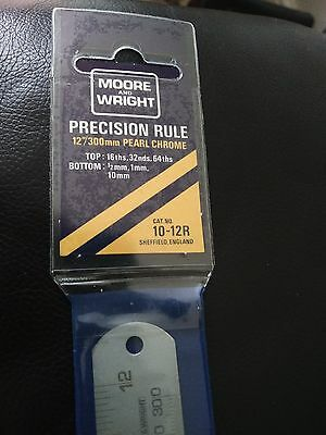"Moore and Wright Precision Rule 12""/300mm Pearl Chrome - Top 16th, 32nds, 64ths"