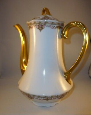 Balleroy & Cie Limoges Theiere Cafetiere Decor Rose Et Or