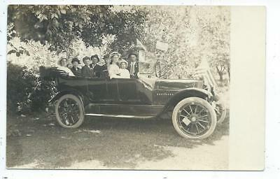 RPPC Postcard  Car Automobile Decorated With Flags Carload of People