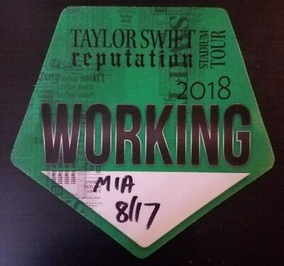 Taylor Swift 2018 Tour Backstage Pass! Unpeeled!  Rare!