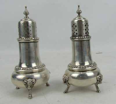 Frank Whiting George II #837 Footed Sterling Silver Salt & Pepper Shakers Repros