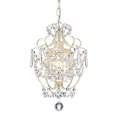 Ivory White Finish Mini Chandelier Wrought Iron Ceiling Light Fixture