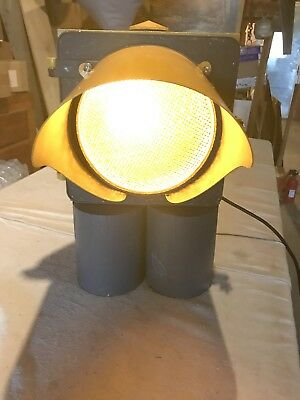 Vintage CROUSE HINDS Metal Traffic Signal St Light Yellow Lamp Man cave Garage