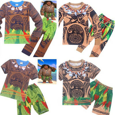 2018 Boys Cosplay Moana Maui Pyjamas Set Casual T-shirt + Pants Outfits Costume