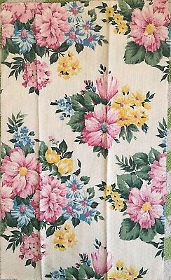 Vintage Floral Barkcloth 2 Panels Bright Cranberry Blue Yellow Green On Yellow!