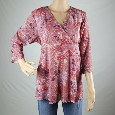 Baby & Me Womens Maternity Knit Top Large Multi-Color 3/4 Sleeve Stretch Lined