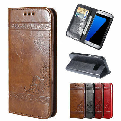 Luxury Leather Magnetic Flip Wallet Case Cover for Samsung Galaxy S6 Edge S9 S8