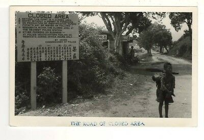 "c1950 Real Photo Postcard: ""The Road to Closed Area"" - Between Hong Kong & China"
