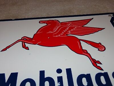 "Vintage Mobil Mobilgas Special 11 3/4"" Porcelain Metal Gasoline & Oil Sign! Gas!"