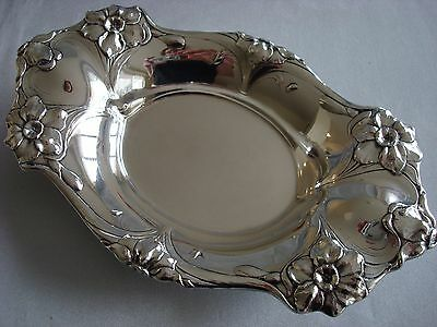 "REED BARTON sterling silver ~ ART NOUVEAU MASTER NUT DISH 8"" ~ LES CINQ ~ RARE!!"