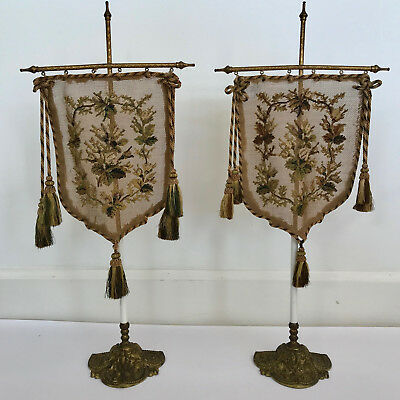 Set Of 2 Very Old Needlepoint Pole Fireplace Face Screens & Stands, Circa 1800's