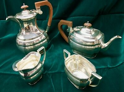 Vintage Poston Products Lonsdale Silver Plate Four Piece Tea and Coffee Set