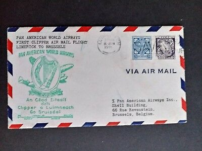 Ireland stamps 1st flight cover pan am 1945 Limerick to Brussels