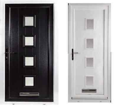 CONTEMPORARY BLACK COMPOSITE Front Door In A Upvc White Frame 1000 X ...