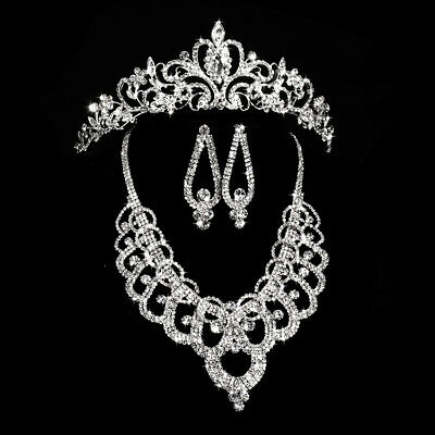Fashion Wedding Party Bridal Crystal Tiara Crown/Necklace Earring Jewelry Set HA