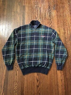 01cc82ed2 Vintage Polo Sport Ralph Lauren 1 4 Zip Pullover Mens Plaid Green M S Spell  Out