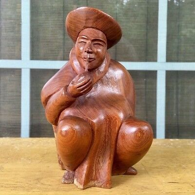 Hand Carved Wood Asian Oriental Chinese Man Figure