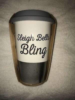BNWT Sleigh Bells Bling Christmas Ceramic Travel Mug Present Gift Secret Santa
