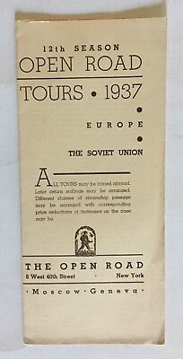 1937 OPEN ROAD TOURS TRAVEL BROCHURE 12th SEASON SOVIET UNION EUROPE WILL GEER