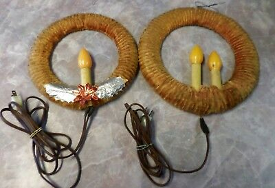 Lot VTG Chenille Wreaths With Candle Centers Electric Work Holiday Decor