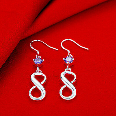 Womens 925 Sterling Silver Elegant AAA CZ Infinity Drop Dangle Earrings #E270