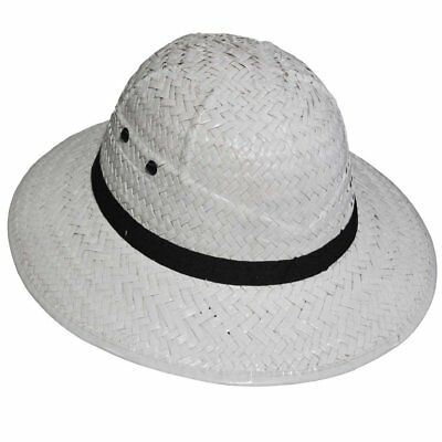 #SAFARI PITH HELMET WHITE FLOCK FANCY DRESS ADULT ACCESSORY