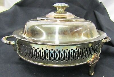 Vintage Silver Plated Footed Casserole Dish Stand with Lid