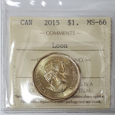 2015 Canada Loonie One Dollar Coin Certified By ICCS MS-66 #XXS455