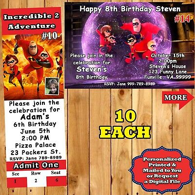 Incredibles 2 Birthday Invitations 10 Ea With Env Personalized Custom Made