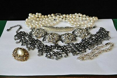 Vintage jewelry lot, huge panel bracelet, choker beaded necklace pins and more