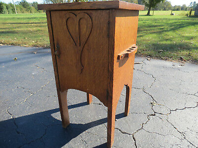 Antique Mission Oak Smoking Cabinet Stand Stickley Era Arts & Crafts Small Table