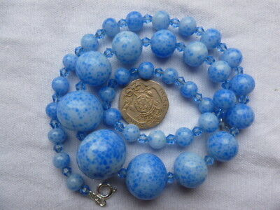 Antique Art Deco Graduated White Blue Speckled Art  Glass Bead Necklace