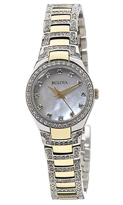 Bulova 98L198 Lady's Two Tone Steel White MOP Dial Crystal Watch JS