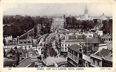 c1905 RPPC Cardiff, Wales, United Kingdom;  General city view looking north