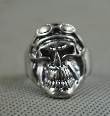 Collectable Handwork Decor Old Miao Silver Carve Mighty Ghost Head Exorcism Ring