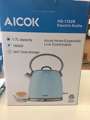Aicok Electric Tea Kettle, 1.7-Liter Brushed Stainless Steel Kettle Light Blue