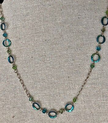 """Holly Yashi 24"""" Sun Circle Silver Niobium Necklace with blue and green crystals"""