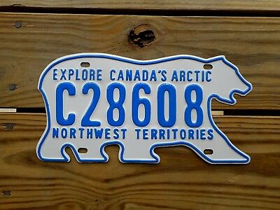 Northwest Territories License Plate Tag Number C 28608 Vintage Nwt Nt Bear