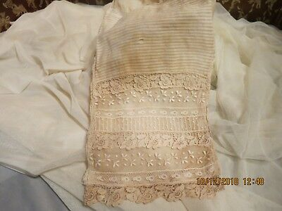 Antique Authentic Edwardian 8 Lace Piece Ribbed On Net Lace  Lined Cotton  #an1