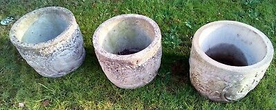 Three Large Round Decorative Concrete Planters / Flower Pots Circ 1980's