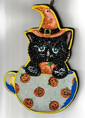 Pumpkin Cat Spiced Coffee HAND PAINTED GLITTERED Wood Halloween ORNAMENT